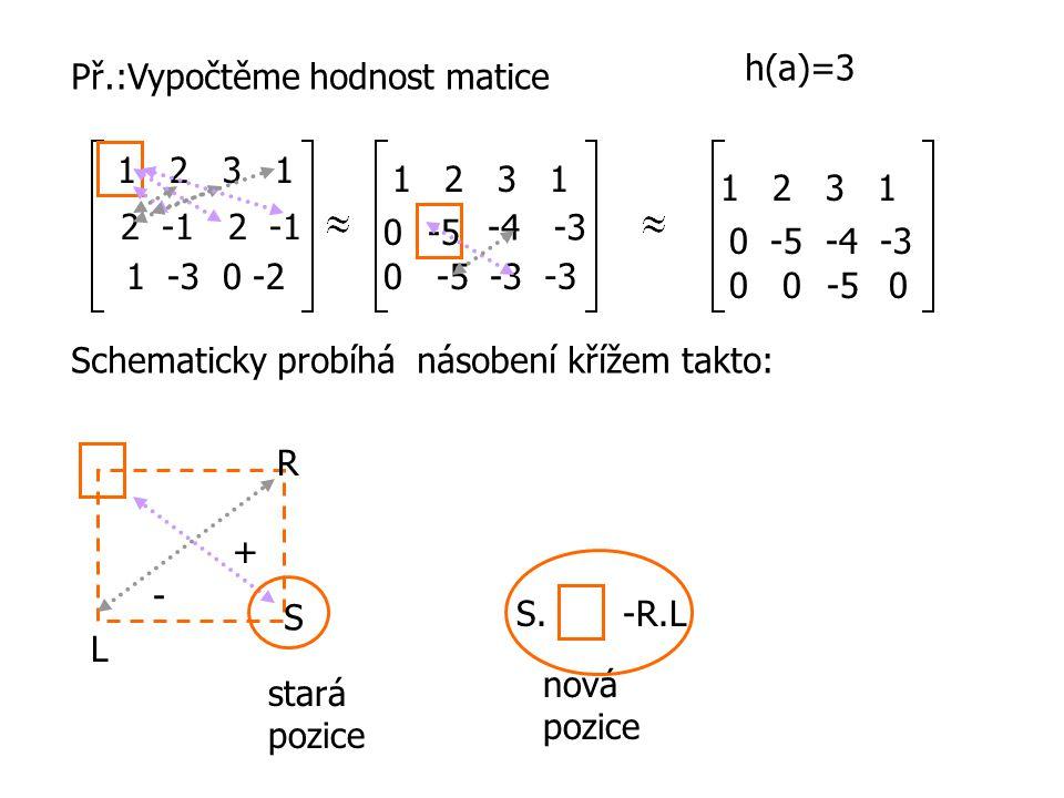 h(a)=3 Př.:Vypočtěme hodnost matice. 1 2 3 1. 1 2 3 1. 1 2 3 1. 2 -1 2 -1.