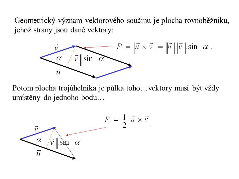 Geometrický význam vektorového součinu je plocha rovnoběžníku,