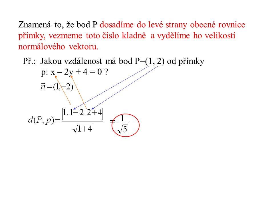 Znamená to, že bod P dosadíme do levé strany obecné rovnice