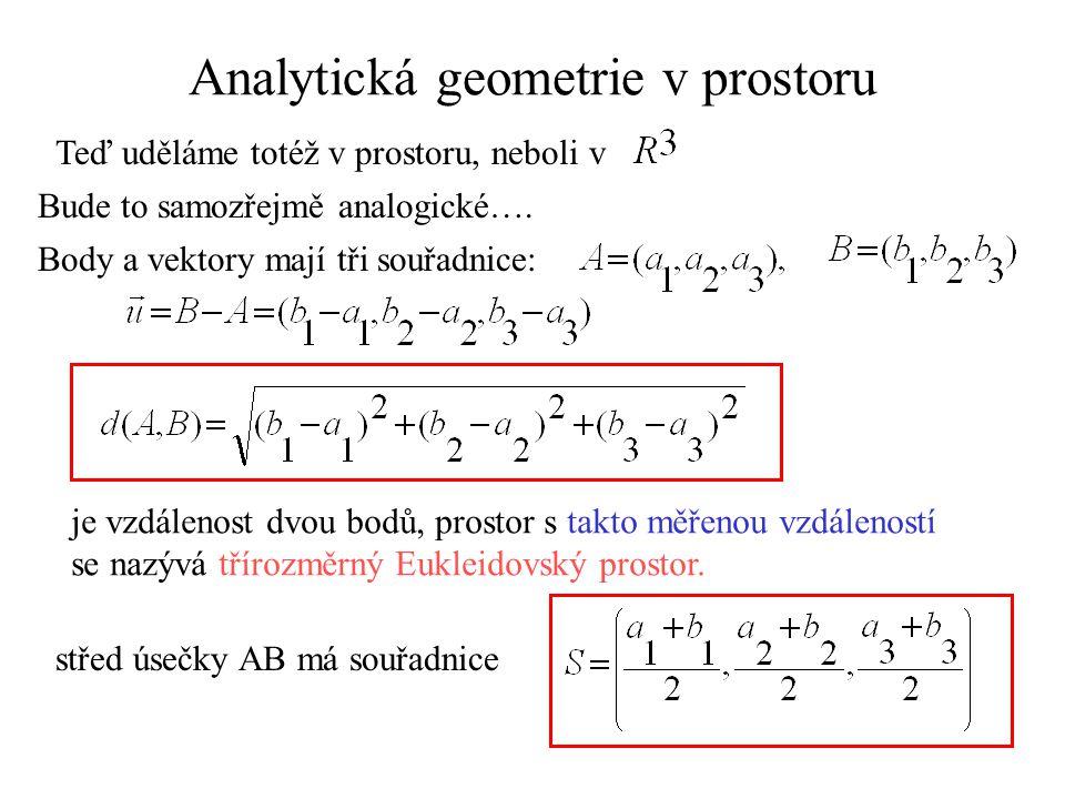 Analytická geometrie v prostoru