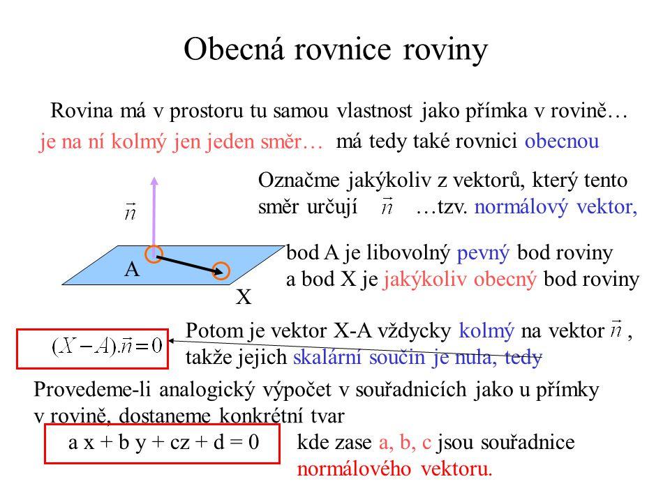 Obecná rovnice roviny Rovina má v prostoru tu samou vlastnost jako přímka v rovině… je na ní kolmý jen jeden směr…