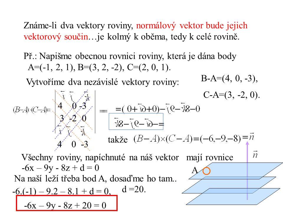 Známe-li dva vektory roviny, normálový vektor bude jejich