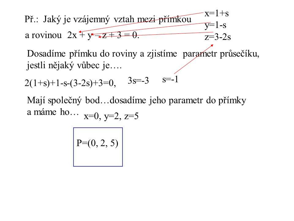 x=1+s y=1-s. z=3-2s. Př.: Jaký je vzájemný vztah mezi přímkou. a rovinou 2x + y – z + 3 = 0.