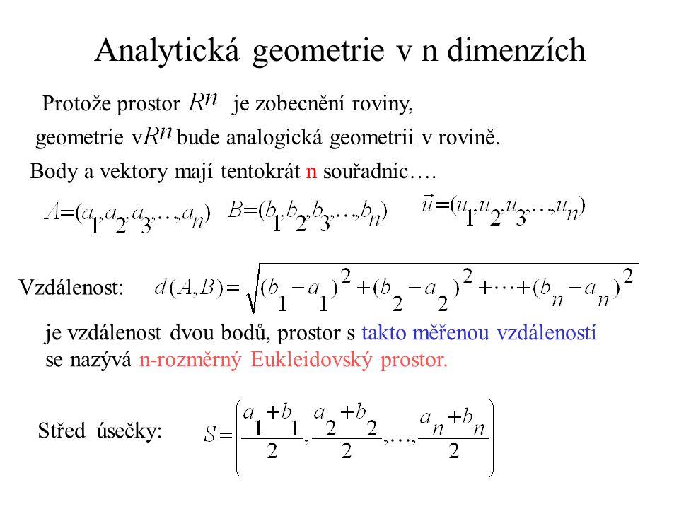 Analytická geometrie v n dimenzích