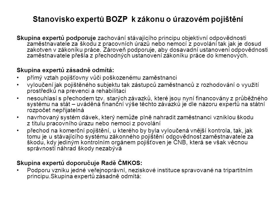Stanovisko expertů BOZP k zákonu o úrazovém pojištění