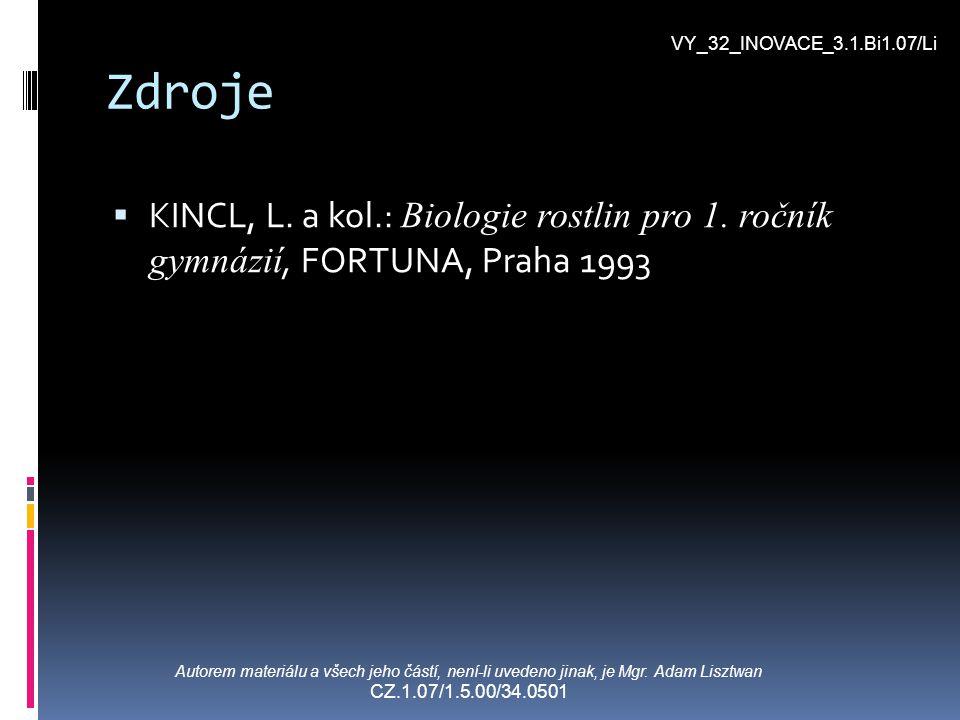VY_32_INOVACE_3.1.Bi1.07/Li Zdroje. KINCL, L. a kol.: Biologie rostlin pro 1. ročník gymnázií, FORTUNA, Praha 1993.