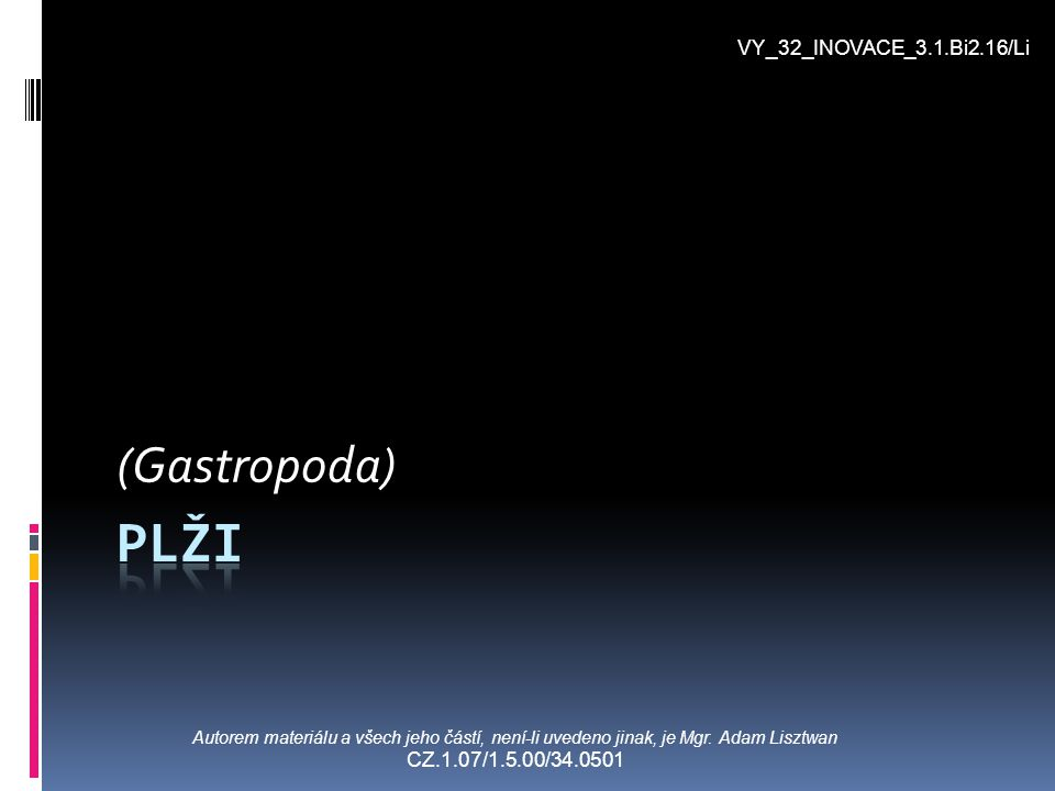 plži (Gastropoda) VY_32_INOVACE_3.1.Bi2.16/Li
