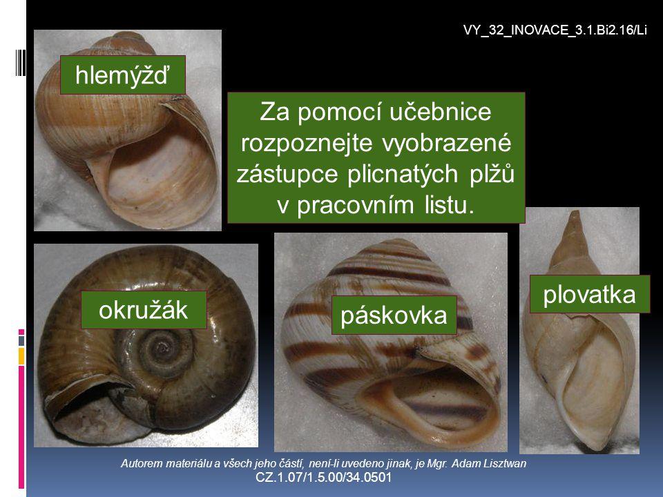 VY_32_INOVACE_3.1.Bi2.16/Li hlemýžď. Za pomocí učebnice rozpoznejte vyobrazené zástupce plicnatých plžů v pracovním listu.
