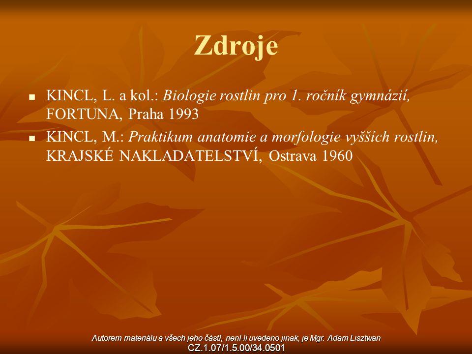 Zdroje KINCL, L. a kol.: Biologie rostlin pro 1. ročník gymnázií, FORTUNA, Praha 1993.