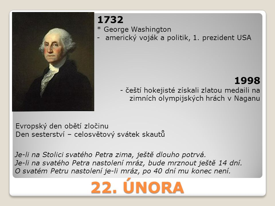 22. ÚNORA 1732 1998 * George Washington