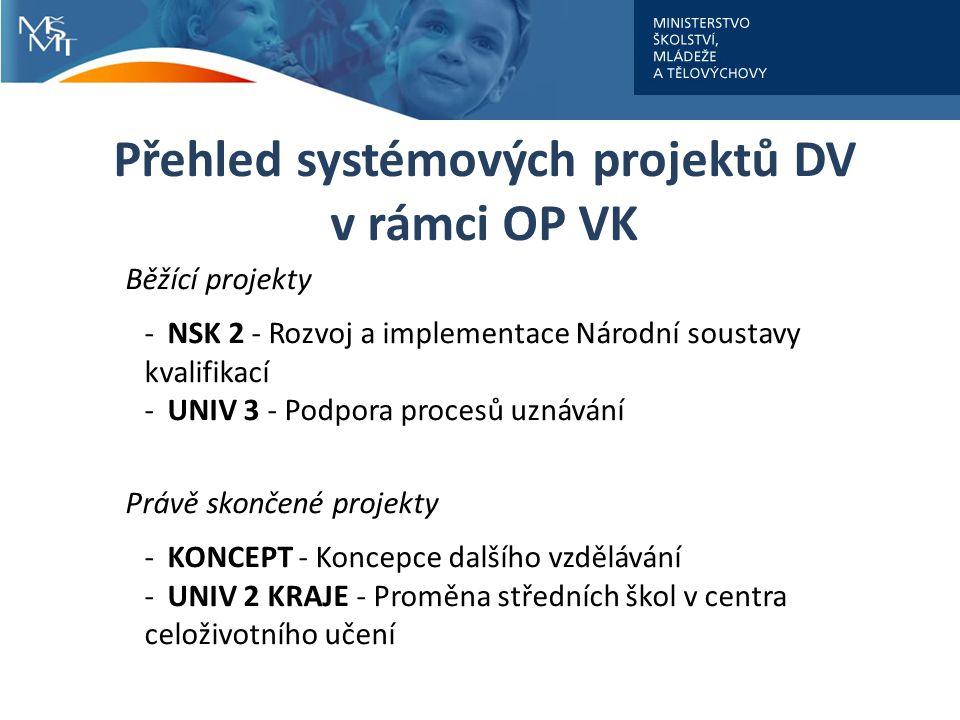 Přehled systémových projektů DV v rámci OP VK