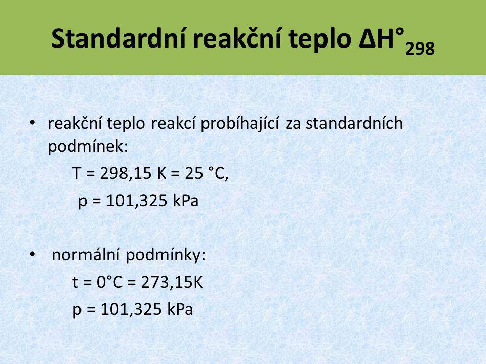Standardní reakční teplo ΔH°298