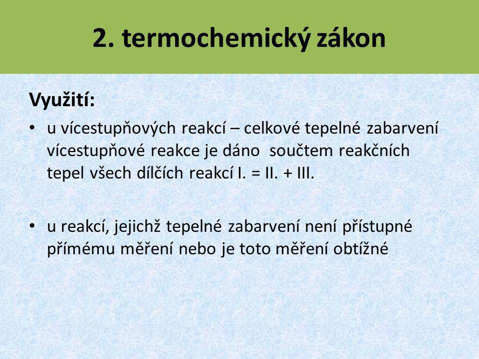 2. termochemický zákon Využití: