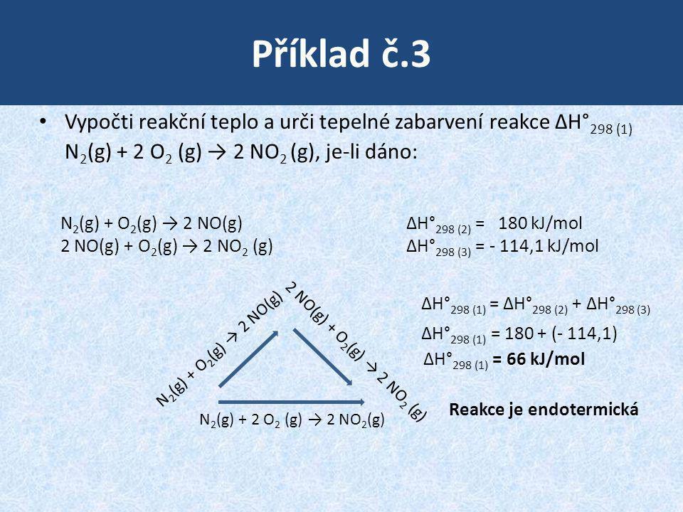 Příklad č.3 Vypočti reakční teplo a urči tepelné zabarvení reakce ΔH°298 (1) N2(g) + 2 O2 (g) → 2 NO2 (g), je-li dáno: