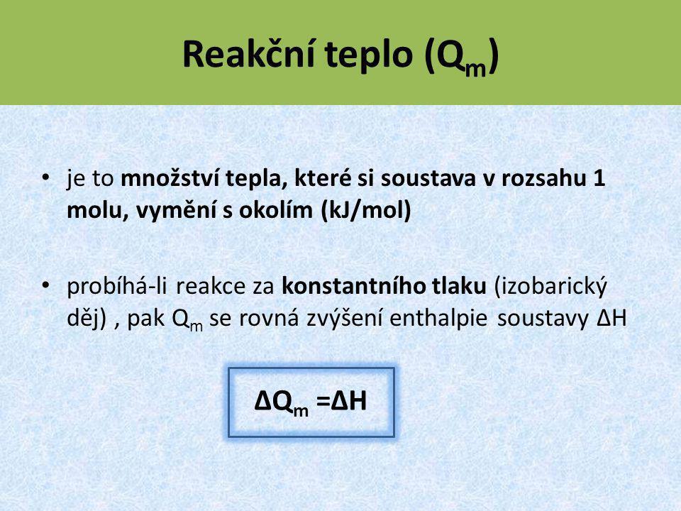 Reakční teplo (Qm) ΔQm =ΔH