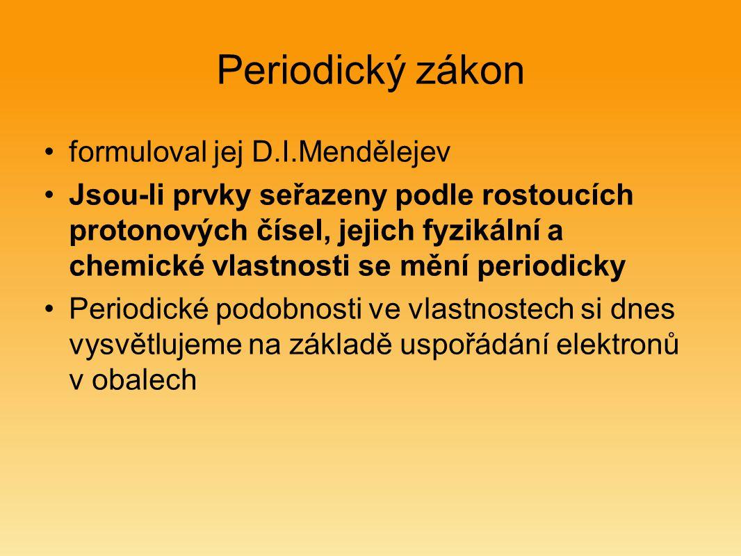 Periodický zákon formuloval jej D.I.Mendělejev