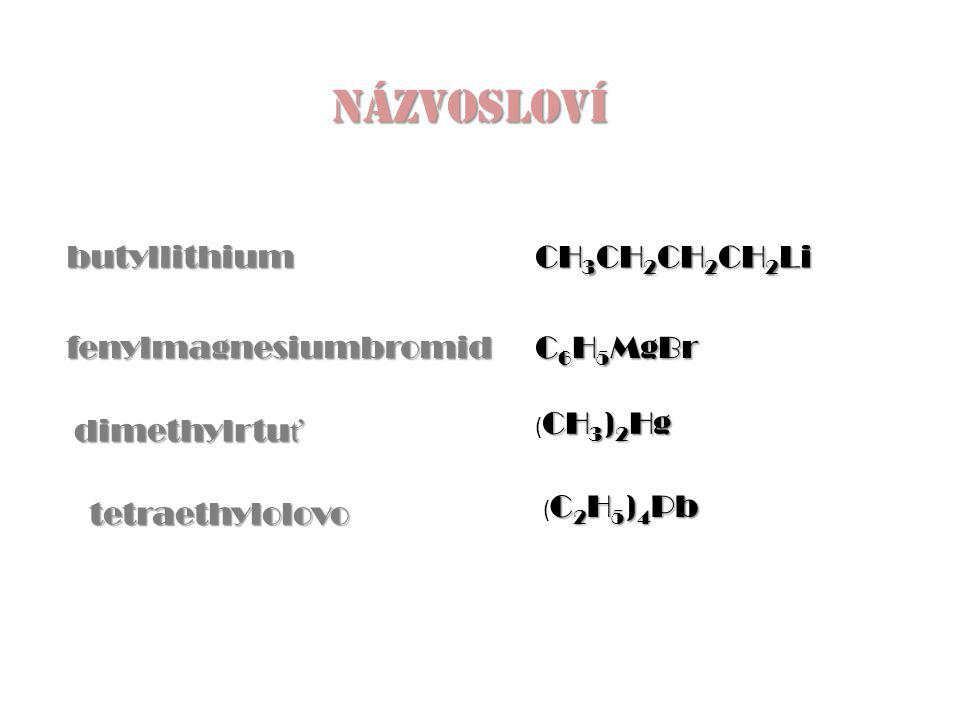 NÁZVOSLOVÍ butyllithium CH3CH2CH2CH2Li fenylmagnesiumbromid C6H5MgBr