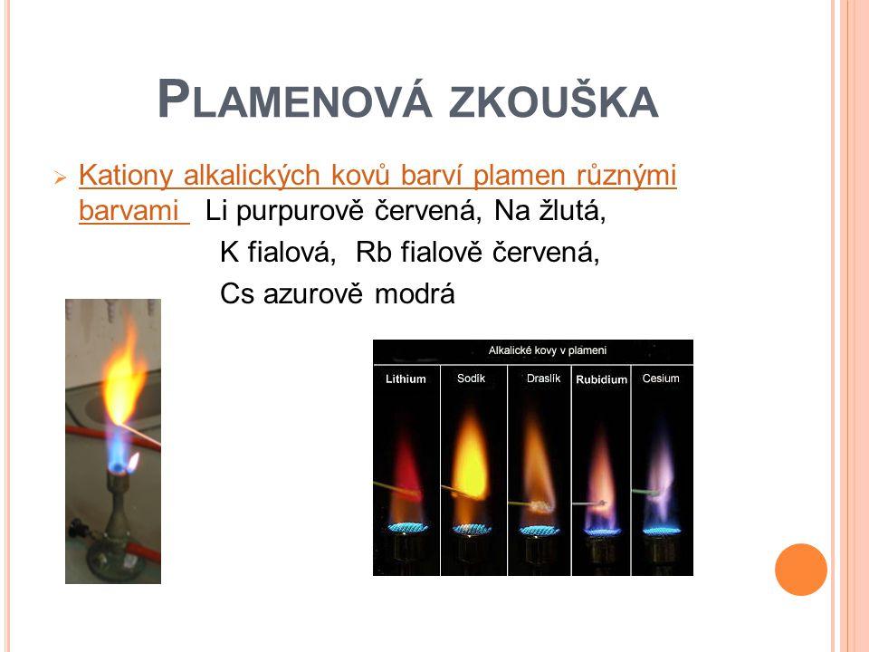 Plamenová zkouška Kationy alkalických kovů barví plamen různými barvami Li purpurově červená, Na žlutá,