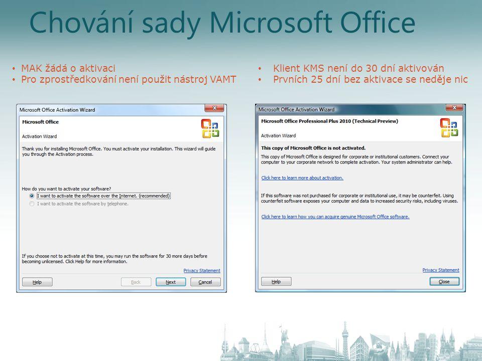 Chování sady Microsoft Office
