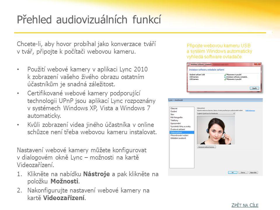 Přehled audiovizuálních funkcí