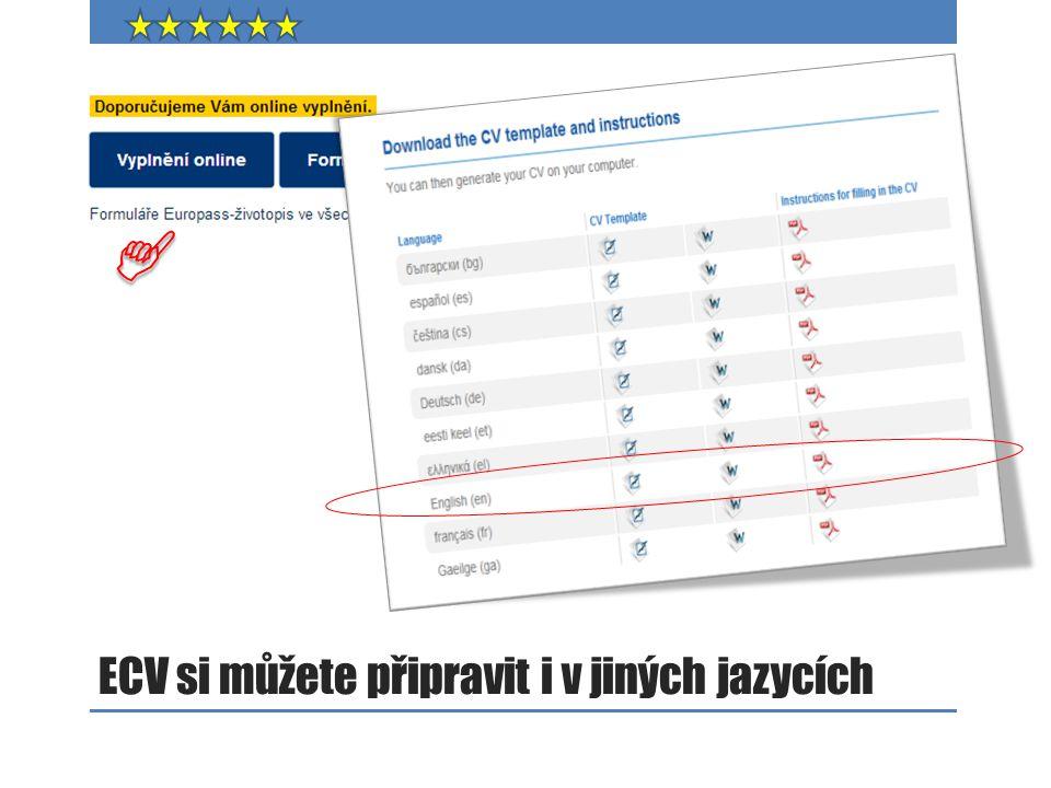 ECV si můžete připravit i v jiných jazycích
