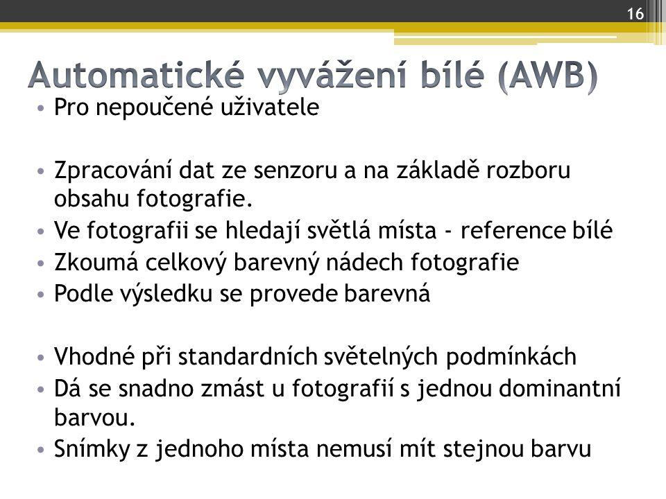 Automatické vyvážení bílé (AWB)