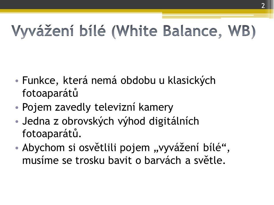 Vyvážení bílé (White Balance, WB)
