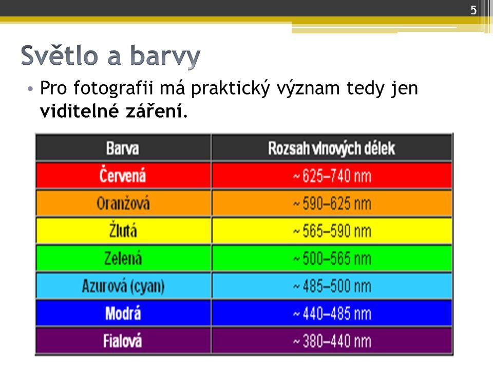Světlo a barvy Pro fotografii má praktický význam tedy jen viditelné záření.