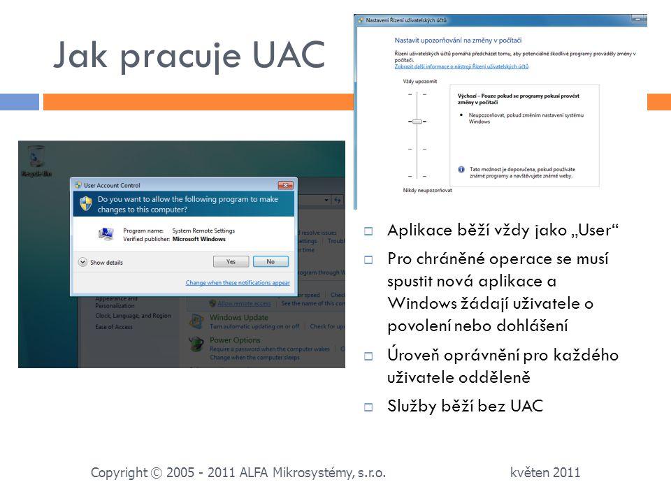 """Jak pracuje UAC Aplikace běží vždy jako """"User"""