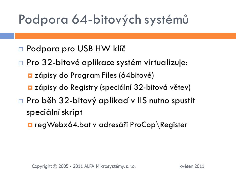Podpora 64-bitových systémů