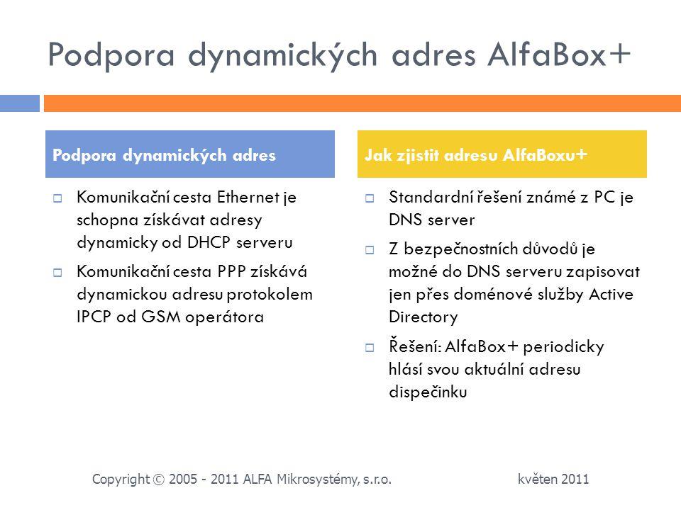 Podpora dynamických adres AlfaBox+