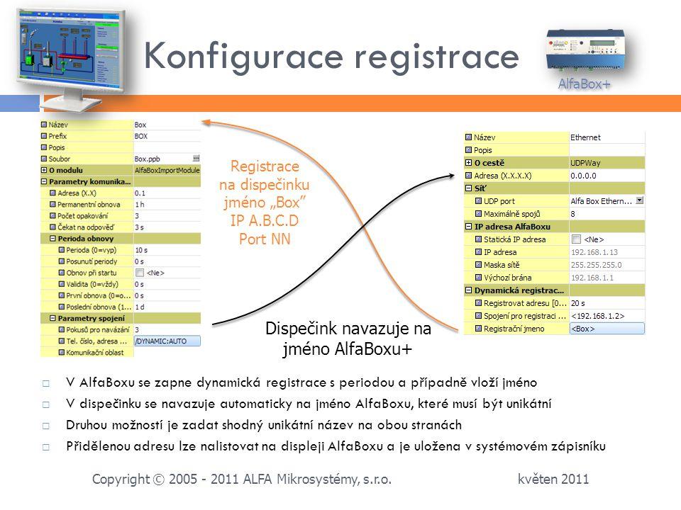 Konfigurace registrace