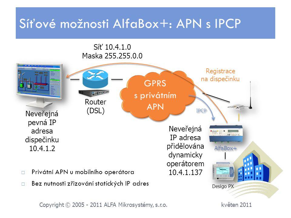 Síťové možnosti AlfaBox+: APN s IPCP