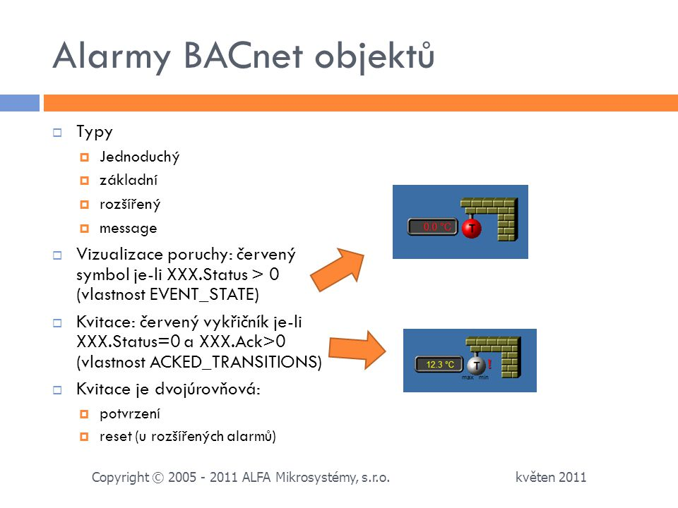 Alarmy BACnet objektů Typy