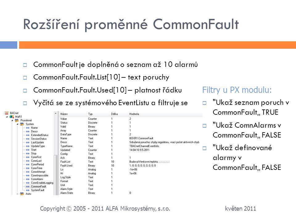Rozšíření proměnné CommonFault