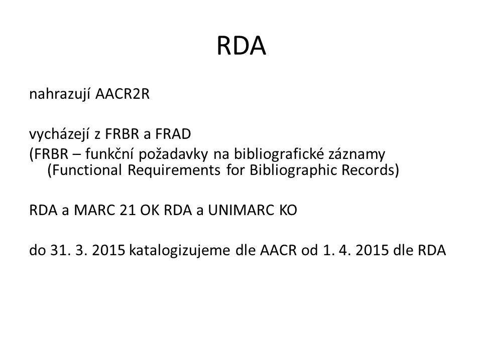 RDA nahrazují AACR2R vycházejí z FRBR a FRAD