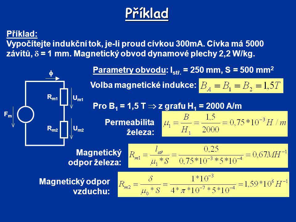 Příklad Příklad: Vypočítejte indukční tok, je-li proud cívkou 300mA. Cívka má 5000 závitů,  = 1 mm. Magnetický obvod dynamové plechy 2,2 W/kg.