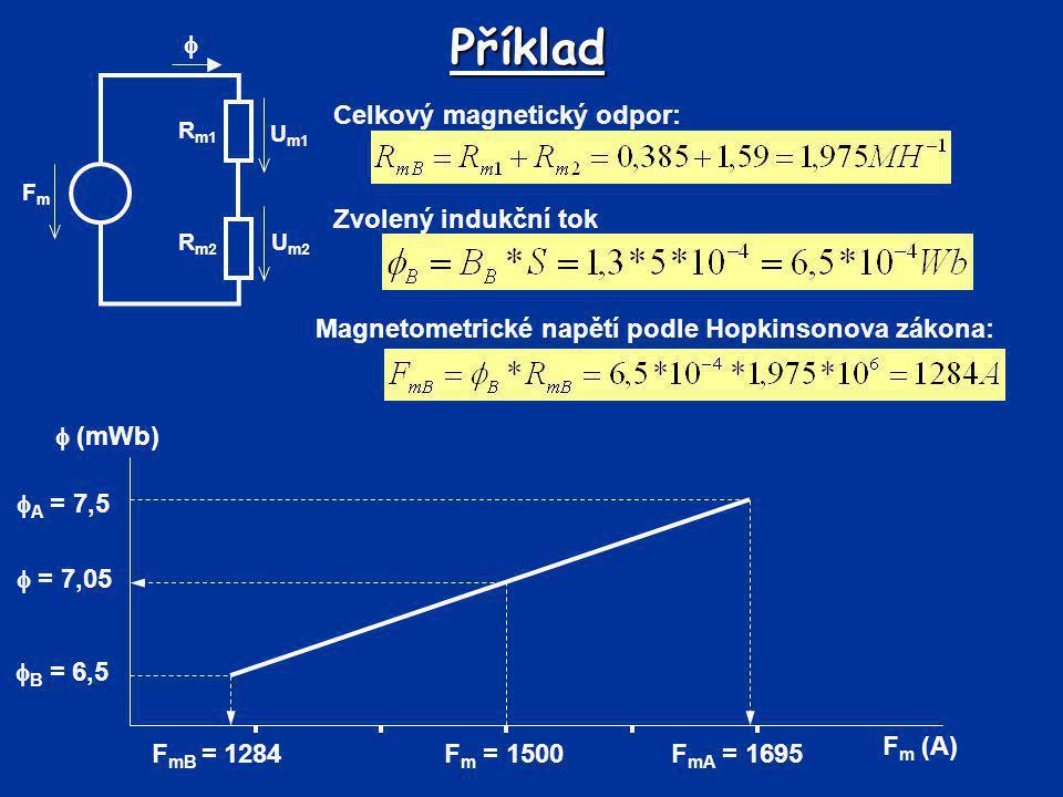 Příklad  Celkový magnetický odpor: Zvolený indukční tok