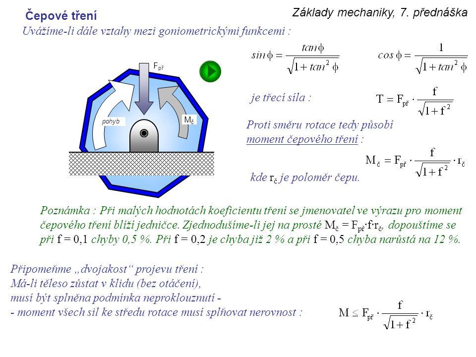 Základy mechaniky, 7. přednáška Čepové tření