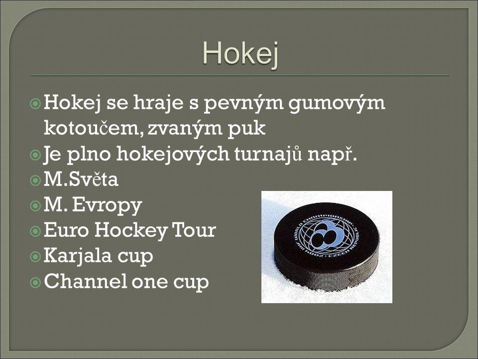 Hokej se hraje s pevným gumovým kotoučem, zvaným puk