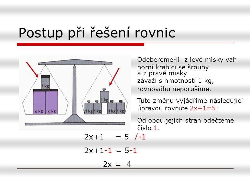 Postup při řešení rovnic