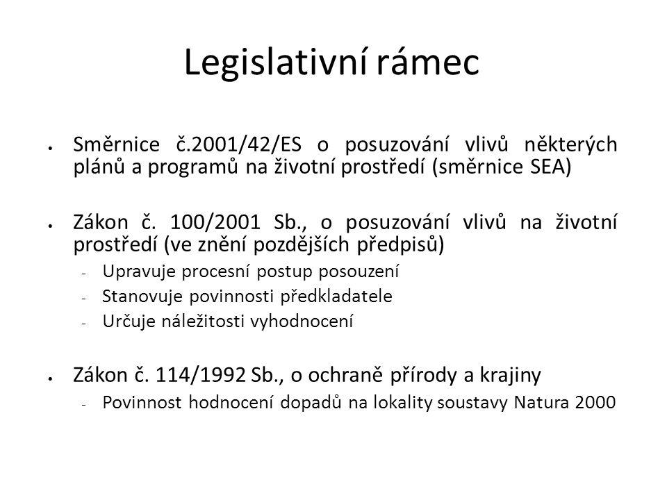 5 Legislativní rámec. Směrnice č.2001/42/ES o posuzování vlivů některých plánů a programů na životní prostředí (směrnice SEA)