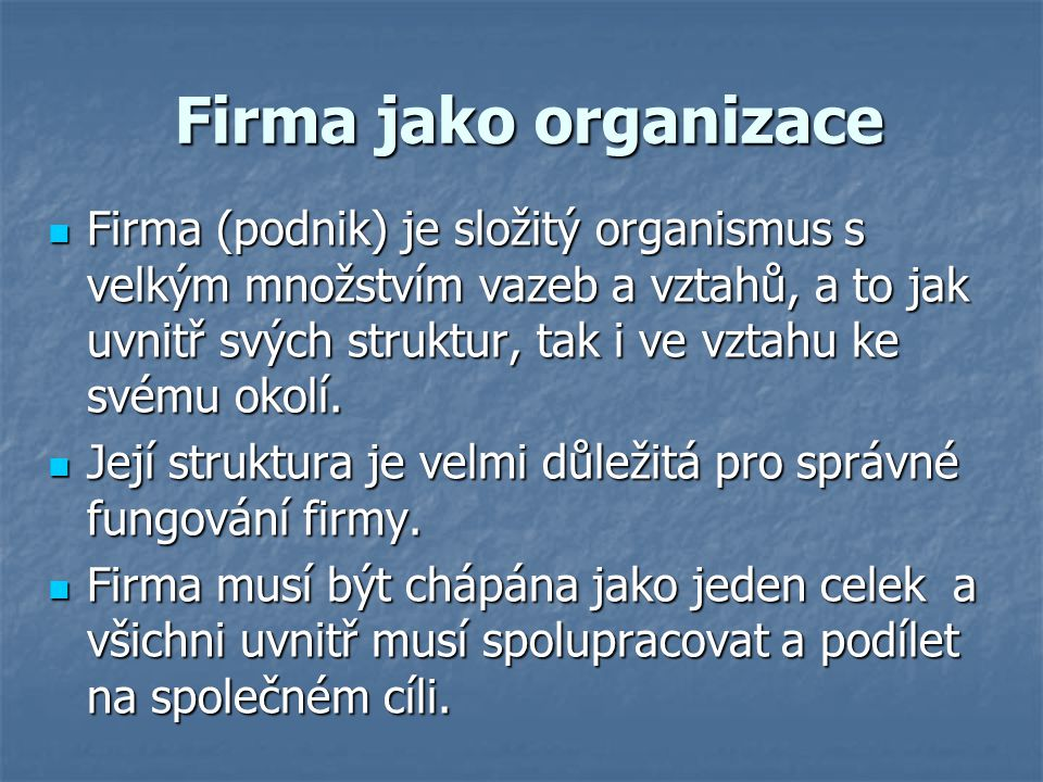 Firma jako organizace
