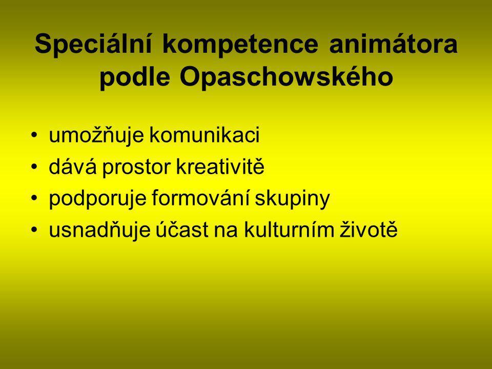 Speciální kompetence animátora podle Opaschowského