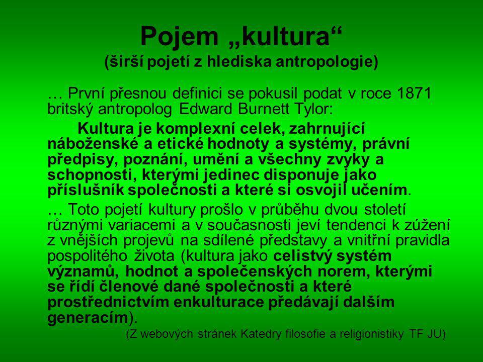 """Pojem """"kultura (širší pojetí z hlediska antropologie)"""