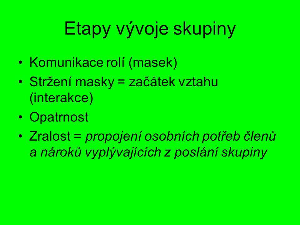 Etapy vývoje skupiny Komunikace rolí (masek)