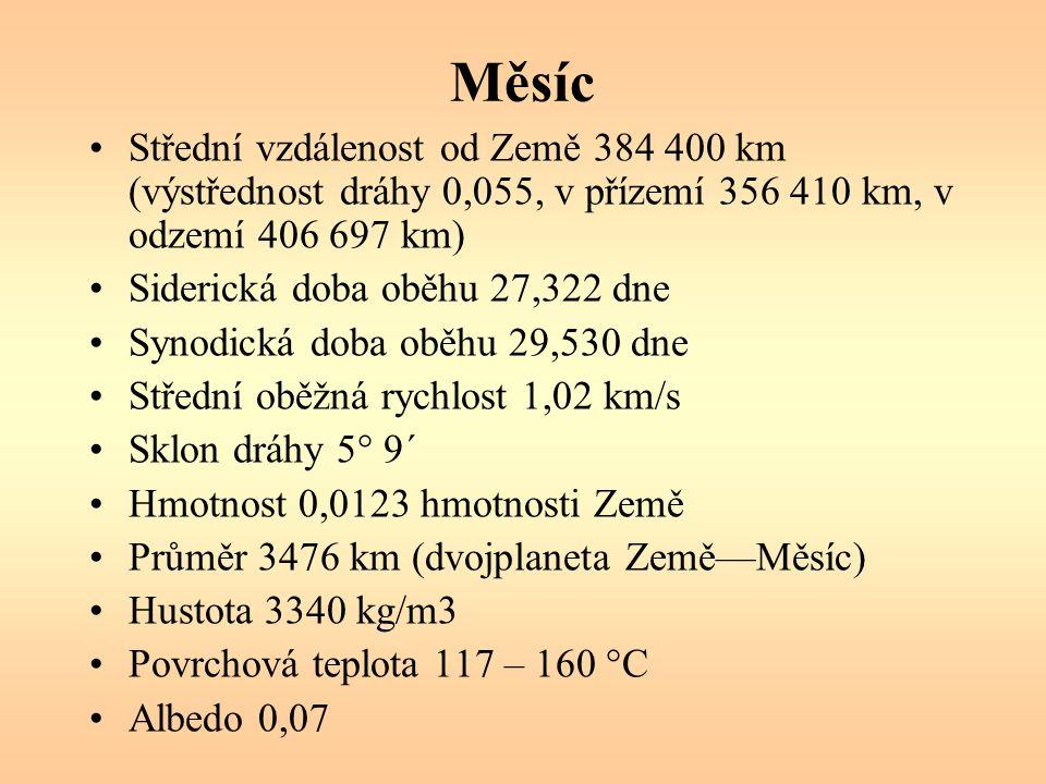 Měsíc Střední vzdálenost od Země 384 400 km (výstřednost dráhy 0,055, v přízemí 356 410 km, v odzemí 406 697 km)