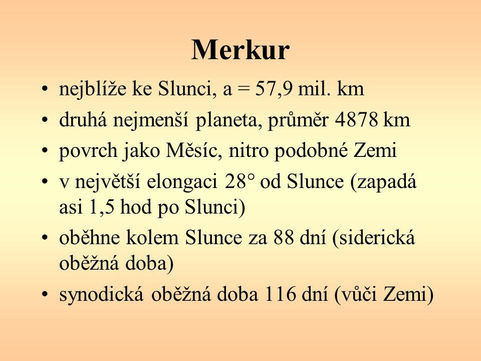 Merkur nejblíže ke Slunci, a = 57,9 mil. km