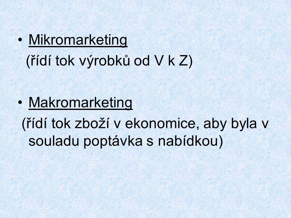 Mikromarketing (řídí tok výrobků od V k Z) Makromarketing.