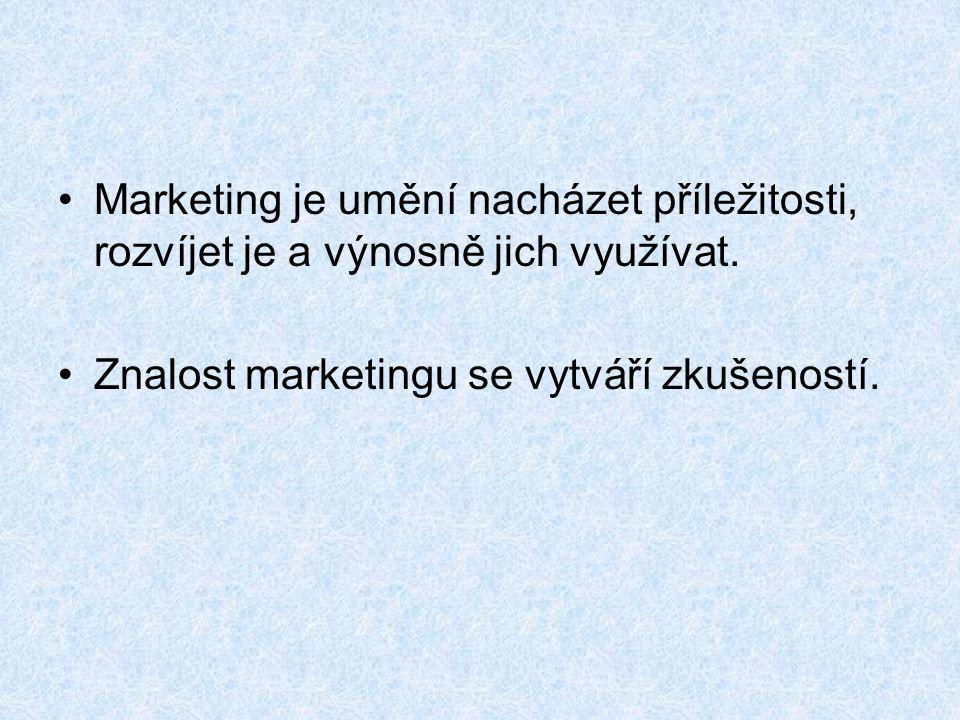 Marketing je umění nacházet příležitosti, rozvíjet je a výnosně jich využívat.